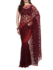 Brown Velvet Flocking Net Saree With Blouse - AKSARA