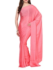 Peach Self  Polka Dots Saree  With Blouse - AKSARA