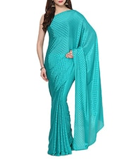 Green Self  Polka Dots Saree  With Blouse - AKSARA