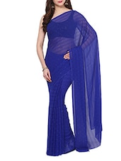 Blue Crystal Chiffon Saree With Blouse - AKSARA