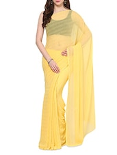 Lemon Yellow Crystal Chiffon Saree With Blouse - AKSARA