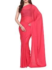 Pink Self Crepe Saree With Blouse - AKSARA