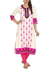Embroidered  White & Pink Straight Cambric Long Kurta - Aaboli