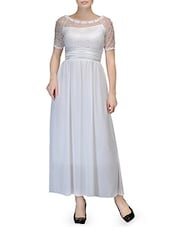 White Laced Yoke Chiffon Maxi Dress - By