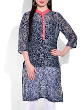 Navy Blue And Grey Cotton Printed Kurti - By