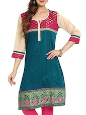 Dark Green Brocade Yoke With Contrast Sleeves Kurti - Aaboli