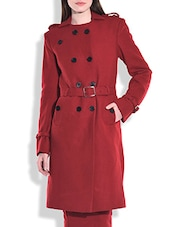 Solid Maroon Woolen Trench Coat - By