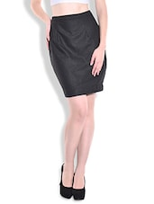 Solid Charcoal Grey Woolen Skirt - By