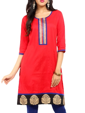 Red Straight Long kurti