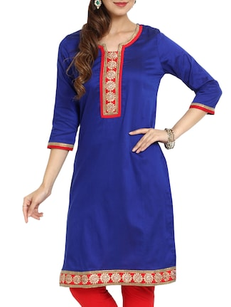 Dark Blue Straight Zari Embroidered kurti
