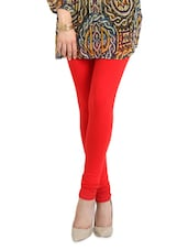 Red Cotton Lycra Regular Churidhar - Aaboli