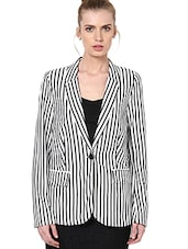 Black And White Vertical Striped Blazer - By