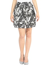 Black And White Printed Flared Skirt - By