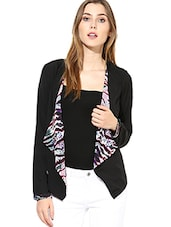 Black Printed Asymmetrical Shrug Styled Jacket - By