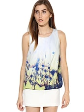 White Floral Printed Pleated Neckline Top - By