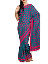 Blue And Pink Polka Crepe Saree - Aaboli