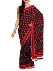 Black And Red Polka Crepe Saree - Aaboli