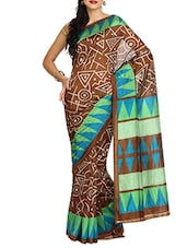 Brown Geometric Print Saree - Aaboli