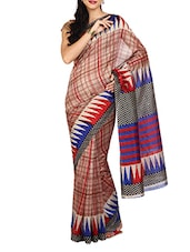 Red Checks Synthetic Saree - Aaboli