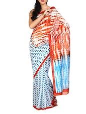 Orange And Blue Batik Print Saree - Aaboli