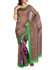 Brown Synthetic Printed Saree - Aaboli