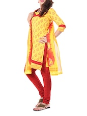 Yellow Block Print Formal Unstitch Dress Material - Aaboli