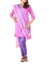 Pink Block Print Formal Unstitch Dress Material - Aaboli