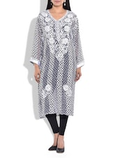 White And Black Poly Georgette Kurta - By