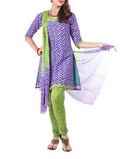 Cotton Purple Dress Material  With Dupatta - Aaboli