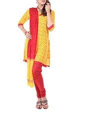 Cotton Yellow Dress Material  With Dupatta - Aaboli