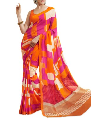 Chiffon Orange Saree