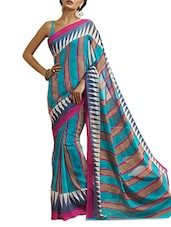 Chiffon Striped Multi Colored Saree With Blouse Piece - Aaboli