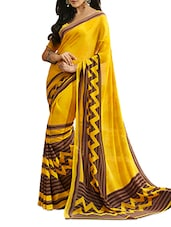 Printed  Chiffon Yellow  Saree With Blouse Piece - Aaboli