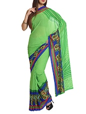 Printed Chiffon Green Saree With Blouse Piece - Aaboli