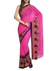 Printed  Chiffon Pink Saree With Blouse Piece - Aaboli
