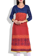Blue & Orange Rayon Printed Kurta - By