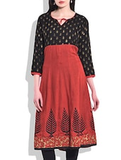 Black & Red Rayon Printed Kurta - By