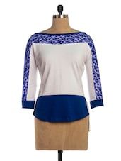 Blue & White Lacy Top - VEA KUPIA