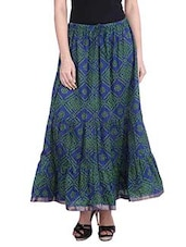 Blue Cotton Bandhej Print Long Skirt - By
