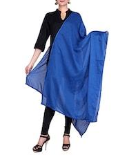 Royal Blue Solid Color Cotton Dupatta - By