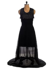 Black Sheer Flowy Dress With Bling Yoke - VEA KUPIA