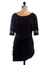 Black Asymmetric Knee Length Dress - VEA KUPIA