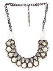 Pearl Trimmed Black Chain Necklace - By