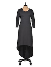Black Asymmetric Knit Dress - Femella