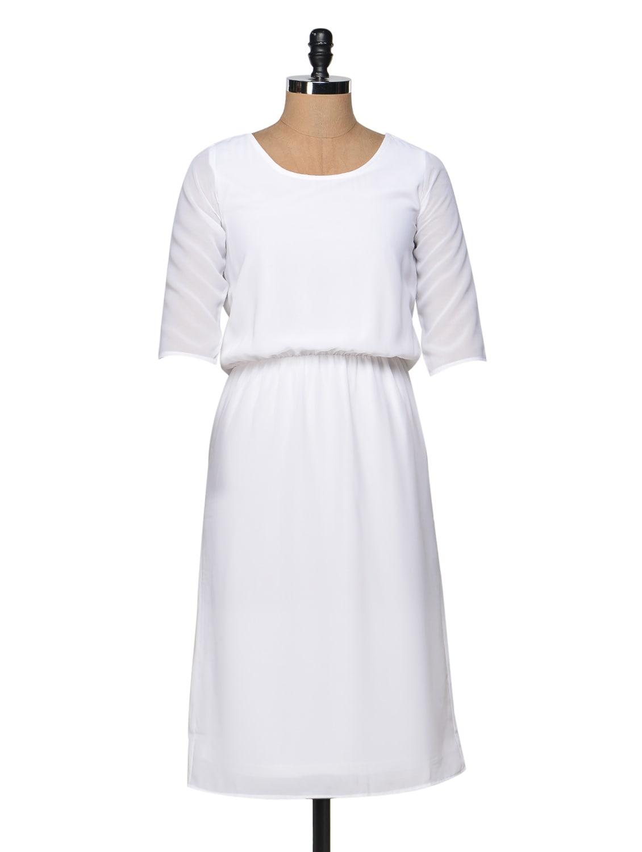 White Elasticated Waist Midi Dress - Femella