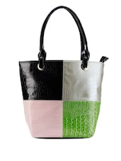 Colour Block Leatherette Tote - Bags Craze