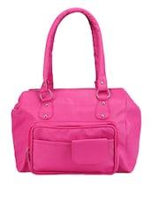 Peppy Pink Leatherette Handbag - Bags Craze
