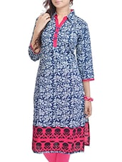 Blue Floral Printed Cotton Kurti - By