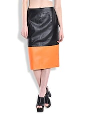 Black And Orange Faux Leather Pencil Skirt - By