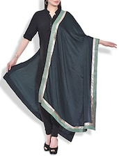 Dark Green Colored Satin Dupatta With Brocade Work - By